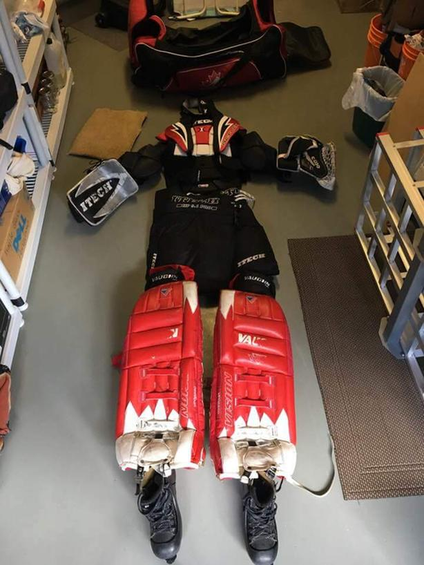 Set Of Goalie Gear For Sale With Hockey Bag West Shore Langford