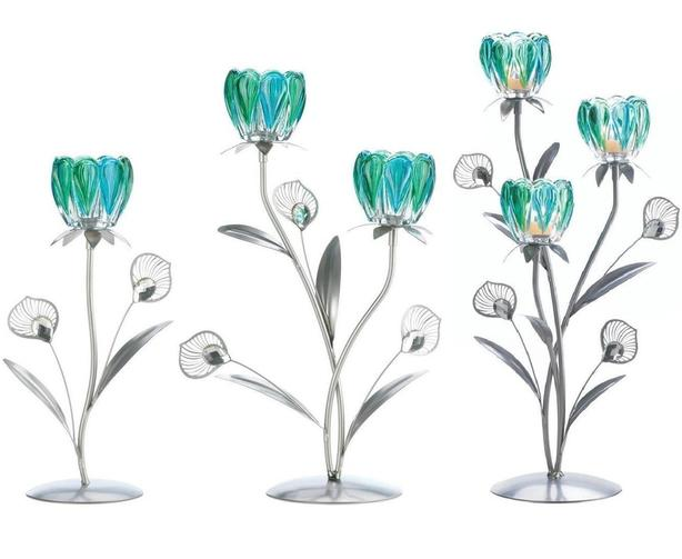 Peacock-Inspired Blue Flower Cup Candleholder Stand Single/Double/Triple 3PC Mix