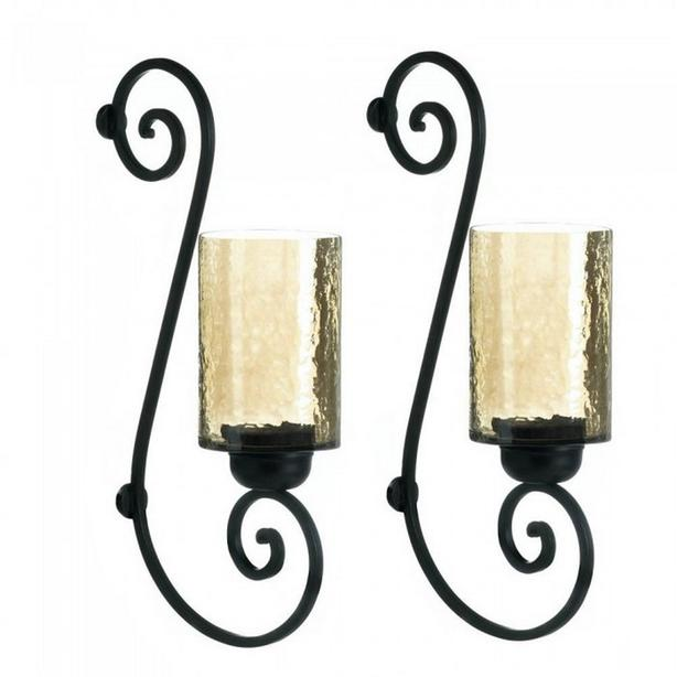 Golden Iridescent Glass Hurricane Candleholder Wall Sconce Set of 2 NEW