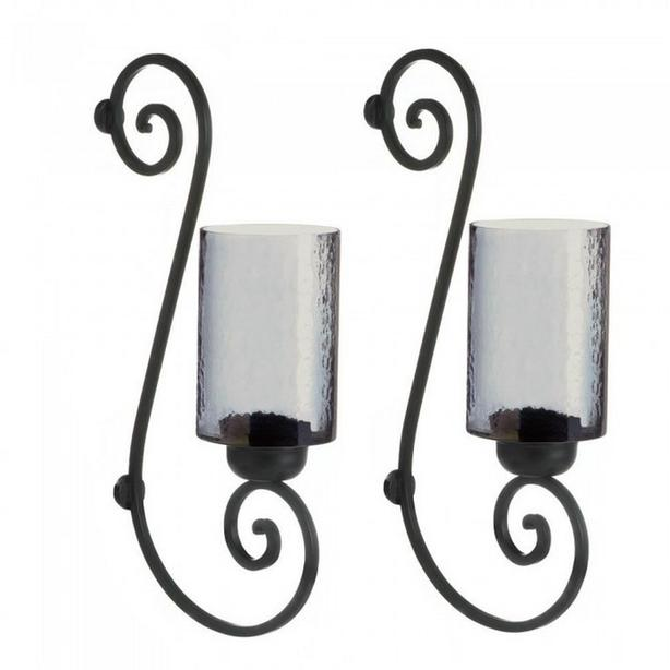Smoked Glass Hurricane Candleholder Wall Sconce Set of 2 Brand New