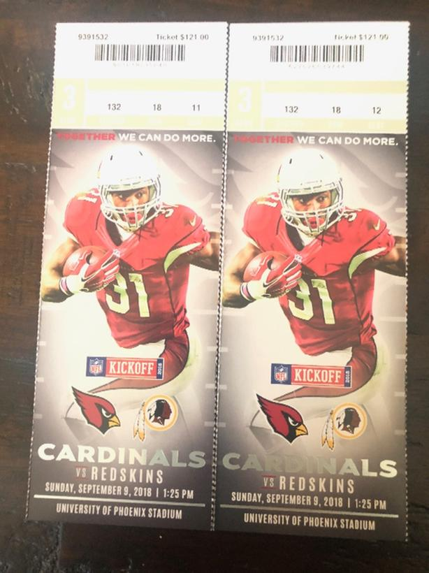 3364c079 Arizona Cardinals vs Redskins season opener september 9/18 North ...