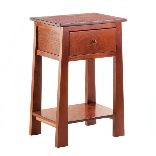 Brown Wood Accent Side End Table Nightstand with Drawer Shelf & Flared Legs NEW