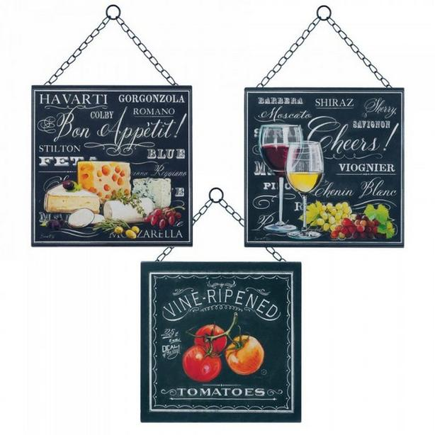 Tabletop Metal Wine Bottle Holder Rack & Hanging Wine & Cheese Wall Plaques 4PC