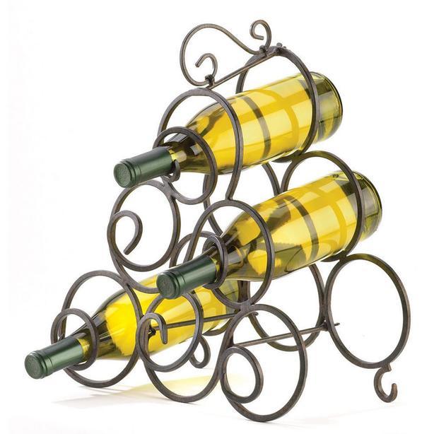 Metal Scrollwork Wine Bottle Holder Rack & Wine Art Board Wall Plaque Duo Mixed