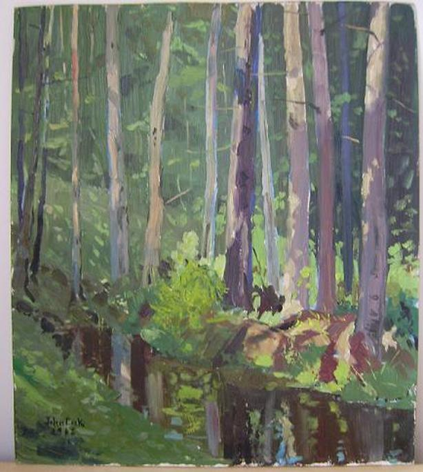 "John  Cook ""Parkers Brook"" oil on Board 14""x16"""