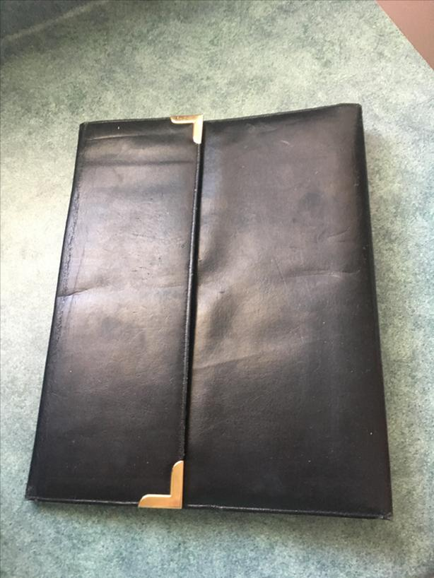 Black Leather 3 Ring Business Binder