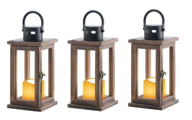 Small Cottage Chic Rustic Wood LED Candle Lantern with Glass Panels 3 Lot NEW