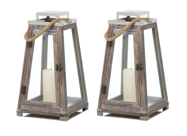Pyramid Shape Candle Lantern Wood with Rope Handle & Stainless Top 2 Lot
