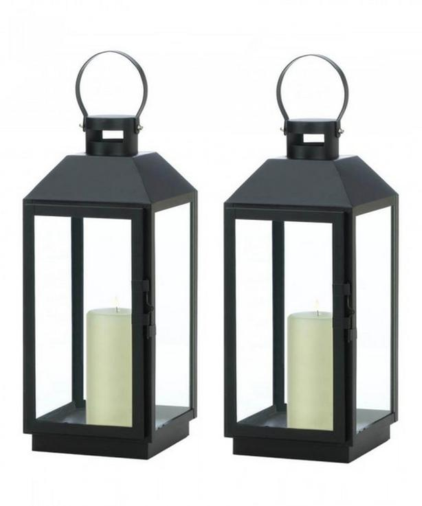 "Large 16"" Classic Black Metal Candle Lantern Set of 2 Brand New"