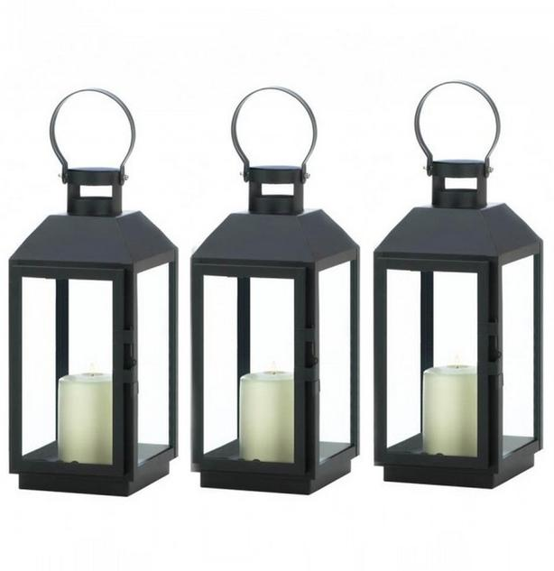 "Modern Classic Black Candle Lantern 3 Lot Brand New 13"" Tall"