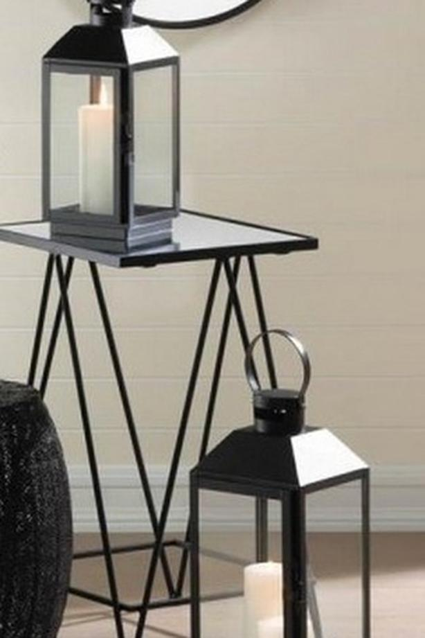 Modern Classic Black Candle Lantern Lg & Sm 2PC Mixed Lot Brand New