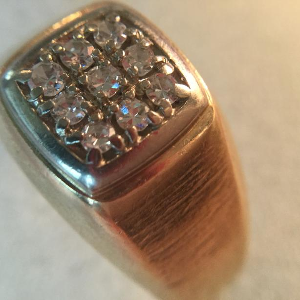  Log In needed $450 · Classic men's 10K yellow gold ring with diamonds and  white gold detail (A640)
