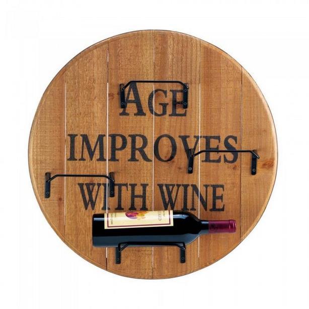 Round Rustic Wood Wall-Mount Fun Wine Bottle Holder Rack & Opener Set 2PC Mixed