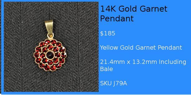 Gold Silver Guy Ruby & Garnet Pendants