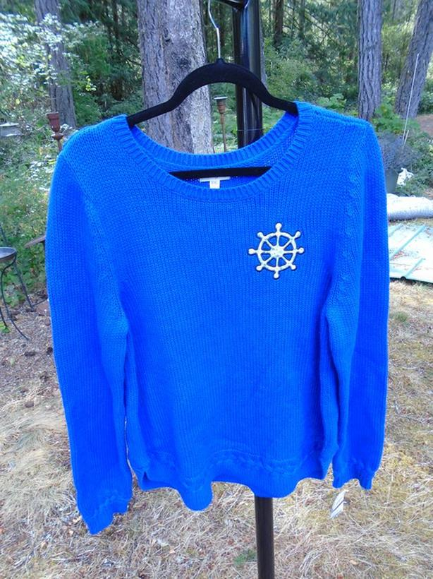 NWT  XXL Women Nautical Theme Sweater Ship Boat Wheel Blue