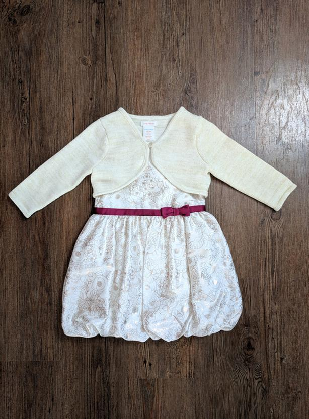 EUC - 2T, sleeveless bubble dress w/ gold/rose gold design, & sweater