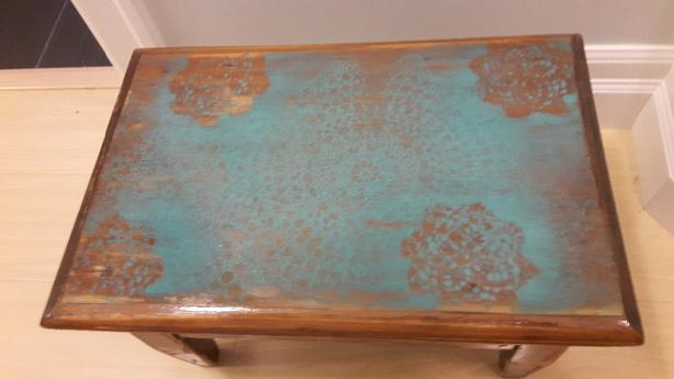 OBO! Solid wood distressed step stool