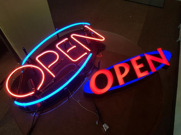 "Retail  lit ""OPEN"" signs $50 each"
