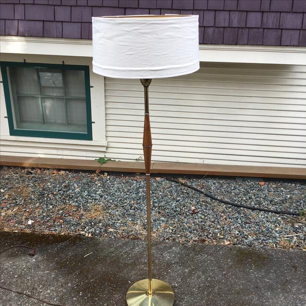 Vintage Modern Brass & Glass Floor Lamp