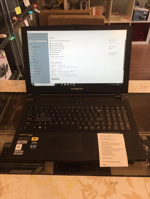 """15.6"""" Eurocom Laptop 4.0GHz 16GB RAM i7 8GB GPU 128GB SSD + 1TB w/ Warranty!"""