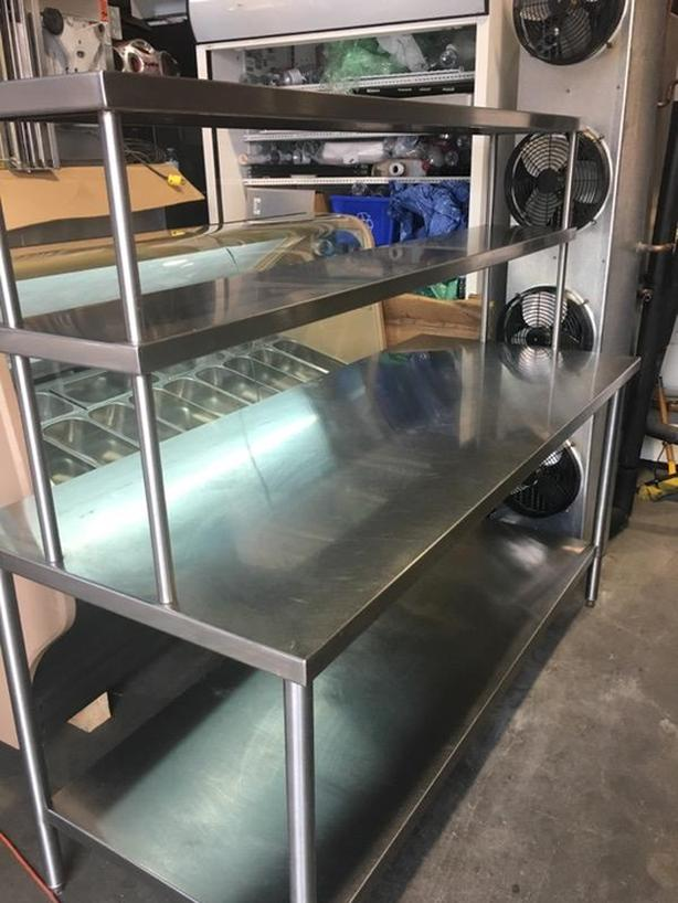 QUEST FT STAINLESS STEEL WORK TABLE WITH OVER HEAD SHELVING - 6 ft stainless steel table