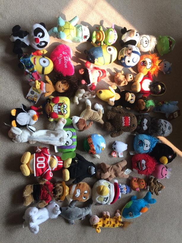 46 small stuffed toys