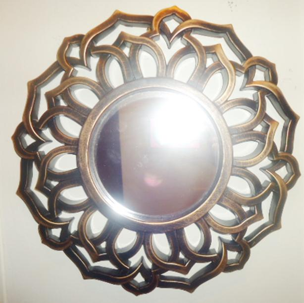 Small Round Ornate Accent Wall Mirror - Bronze  - Like New