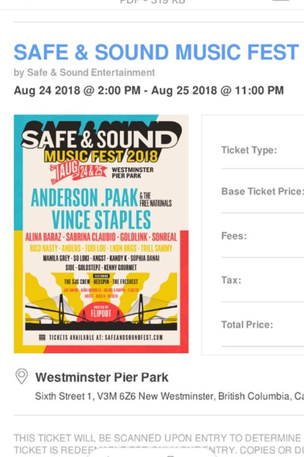 Safe and sound music festival tickets (2) Victoria City
