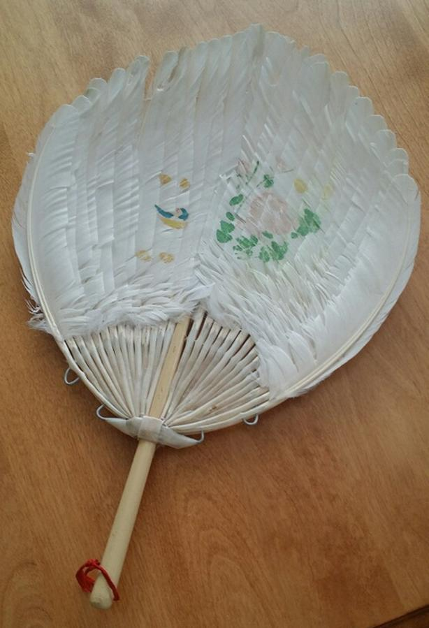 Antique Oriental Hand-Painted Goose Feather Fan (REDUCED)