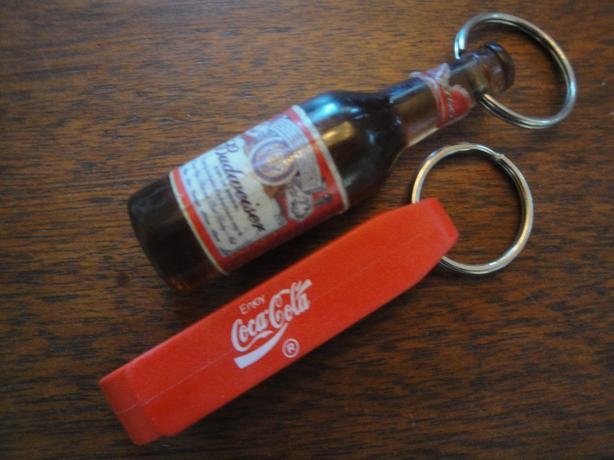 each - Budweiser and Coca-Cola Bottle Opener Keychains