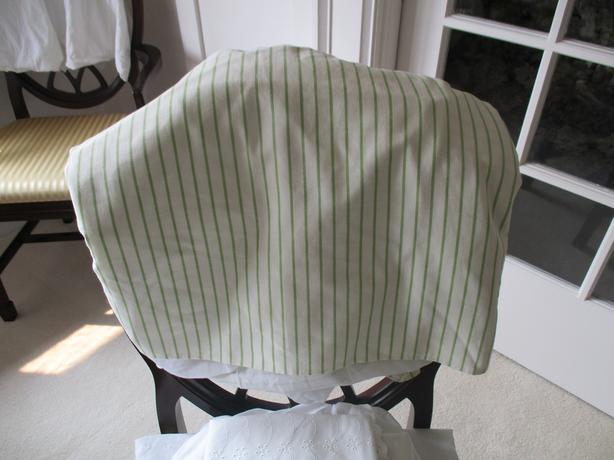 Brand New Gluckstein Oxford Green Stripe Queen Size Bedskirt