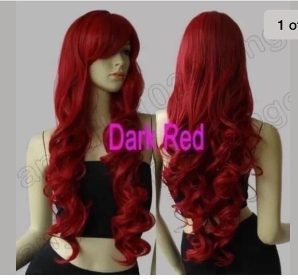 long Dark red wig