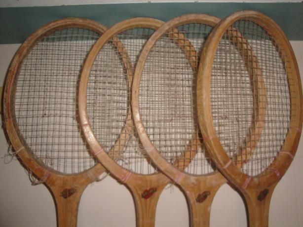 Four Vintage Wooden Liebchen Tennis Racquets