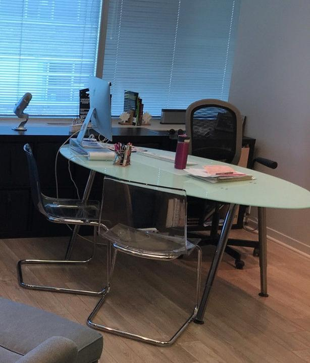 Dining or office or meeting glass table or desk