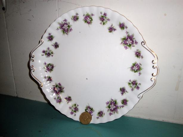 "Royal Albert ""Sweet Violets"" Pattern, 10 1/2"" Handled Cake Plate"