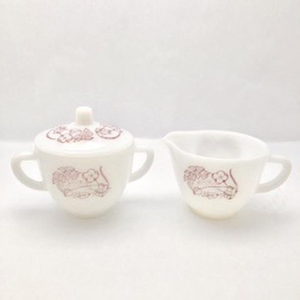 Vintage Federal Milk Glass Cream and Sugar Set