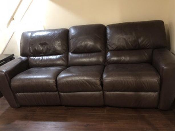 Brown leather recliner sofa set
