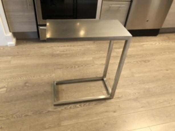 Silver metal accent table