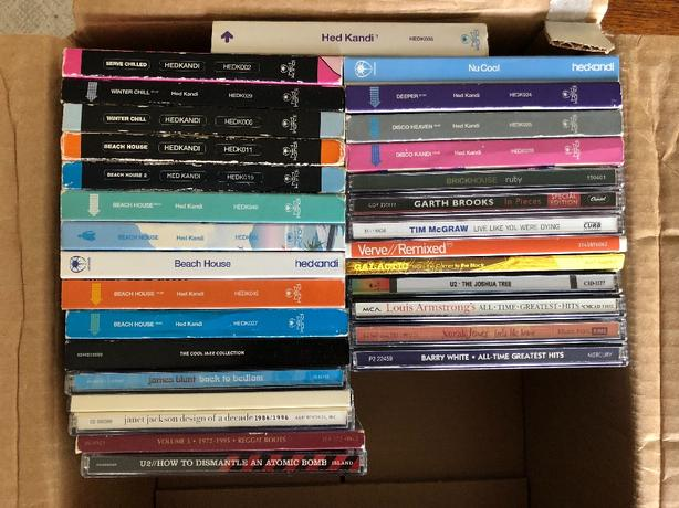 Box of CDs: legends, disco, old time rock n'