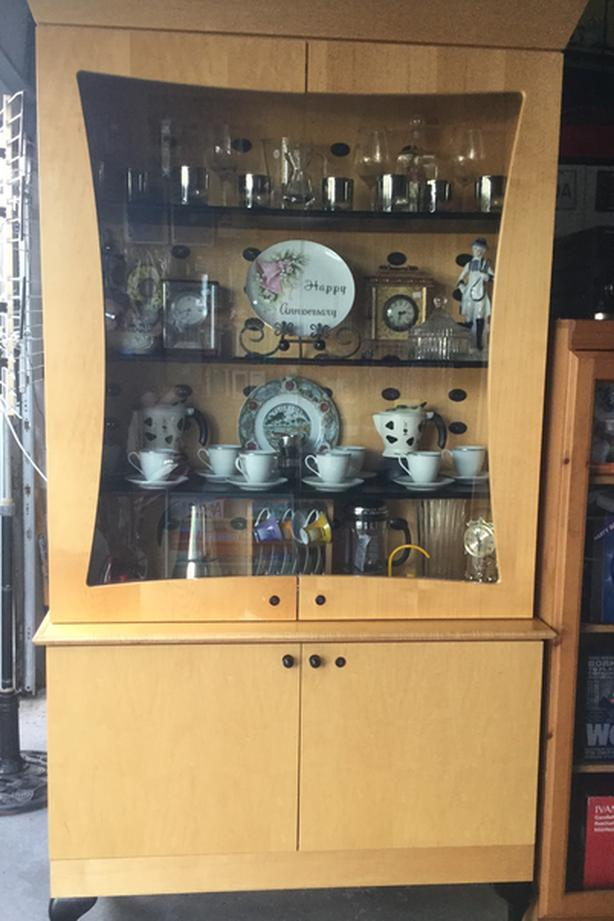 Wood Cider Glass Door Dining Display Cabinet
