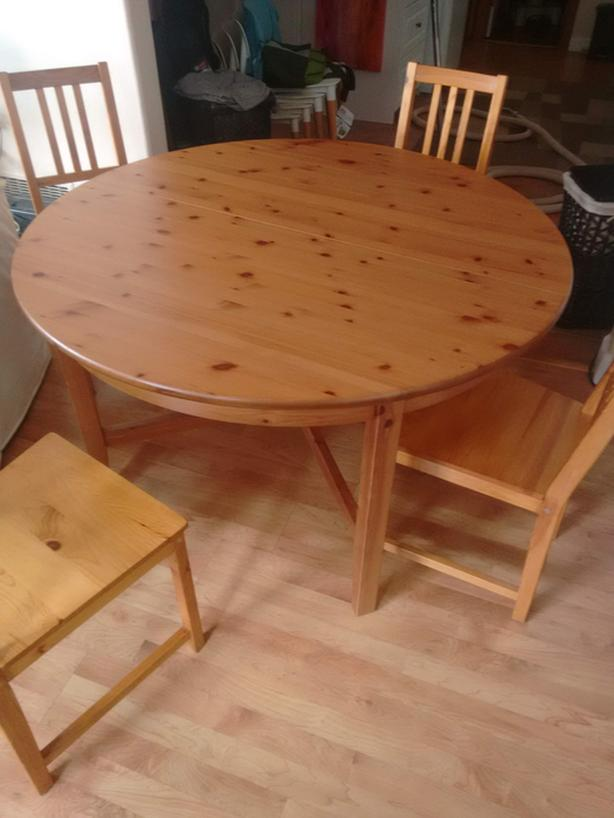 Ikea Round Dining Table Solid Wood Extendable With 4 Chairs Oak Bay Victoria Mobile