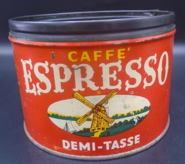 VINTAGE 1940s CAFFE ESPRESSO COFFEE TIN OLD DUTCH COFFEE CO. NY
