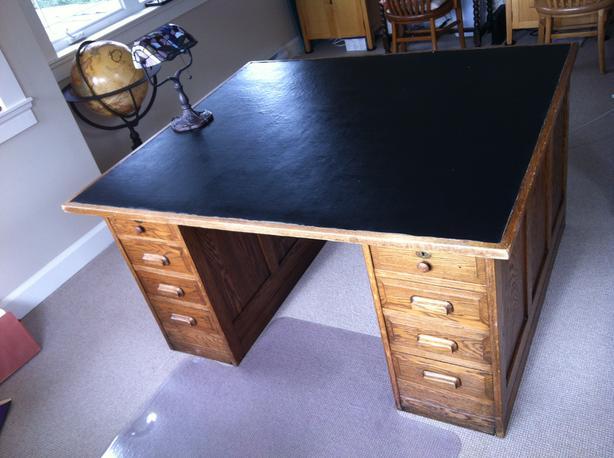 Antique Solid Oak Partner Desk