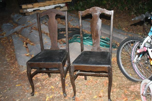 PAIR OF NICE OLD ANTIQUE CHAIRS LEATHER SEATS $50/PR