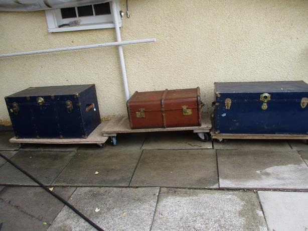 THREE STEAMER TRUNKS FROM ESTATE