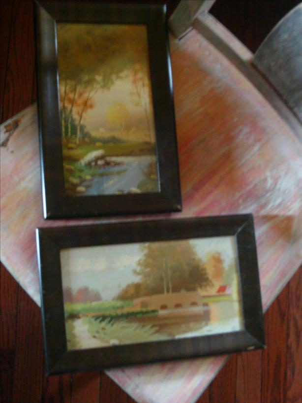 1930's Original Oil Painting with Art Deco wood Frame