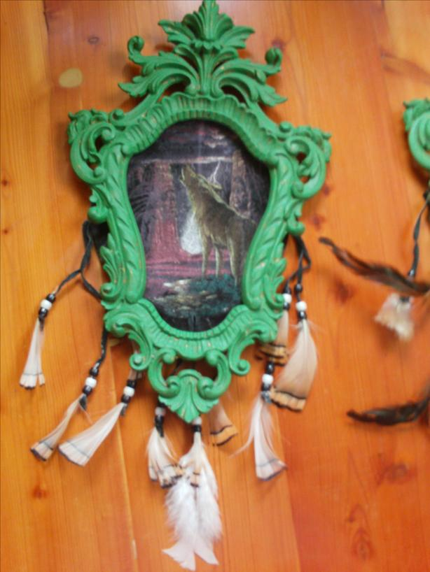 Two Frame set with Native Velour Pictures and feathers