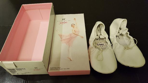 Girl white ballet slippers (size 2)