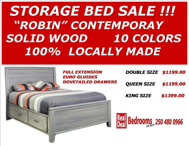 SOLID WOOD STORAGE BED SALE LOCALLY MADE QUEEN $1199