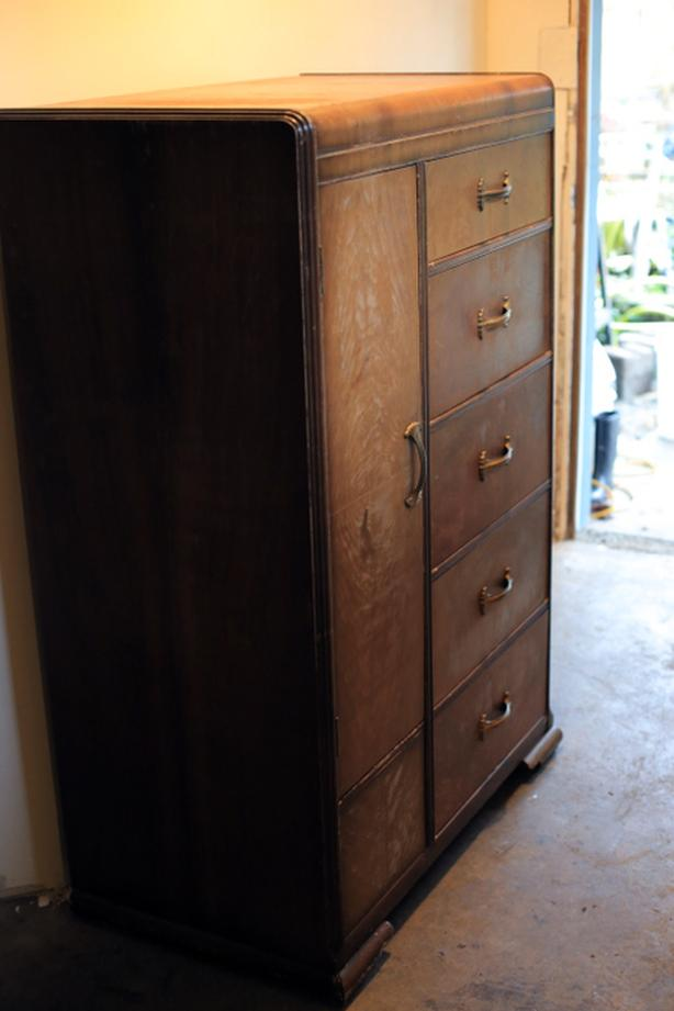 Antique Art Deco Chifferobe (armoire) and wooden bed frame. Victoria ...